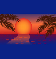 Red yellow sunset on sea with palm tree vector