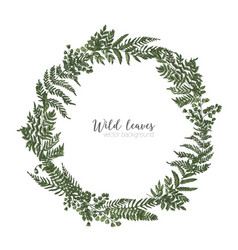 Round frame border or circular wreath made of vector