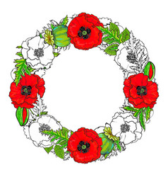 round frame of poppy flowers buds and leaves vector image
