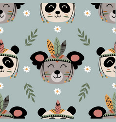 seamless pattern with tribal koala and panda vector image