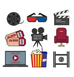 set cinema object in flat style on a white vector image