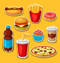 set fast food meal vector image