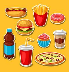 set fast food meal vector image