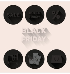 Set flat black icons Black Friday sale vector image
