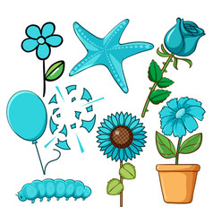 set flowers and other things in blue vector image