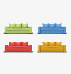 Set of colorful sofas object realistic design vector