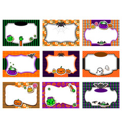 set of cute halloween invitations vector image