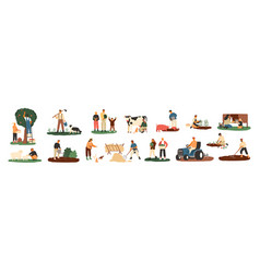 set of farmers or agricultural workers planting vector image