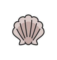 Shell seashell flat color line icon vector