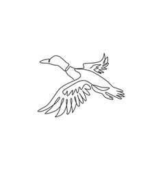 single one line drawing adorable flying vector image