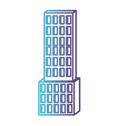skyscraper building icon gradient color silhouette vector image