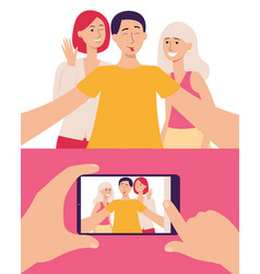 smartphone screen with photo and people taking vector image