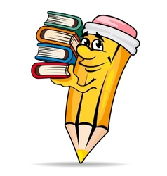 smiling pencil with books vector image