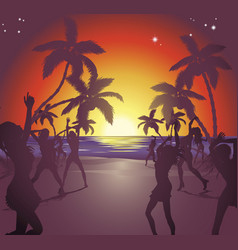 Sunset beach party vector