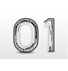 technology abstract 01 font alphabet on grey vector image
