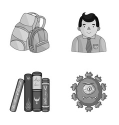 tentacles education and other monochrome icon in vector image
