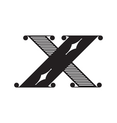 The vintage style letter x vector