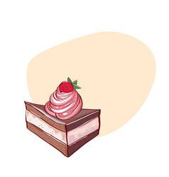 Tiramisu cake hand drawn vector