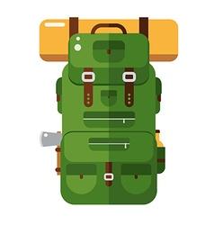 tourist hiker backpack flat design icon adventure vector image