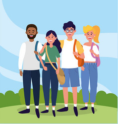 university women and men with backpack to study vector image