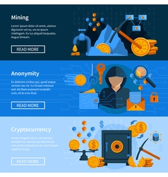 Virtual Currency Flat Style Banners Set vector image