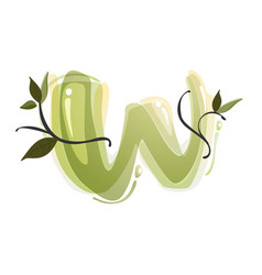 w letter watercolor hand drawn green natural logo vector image