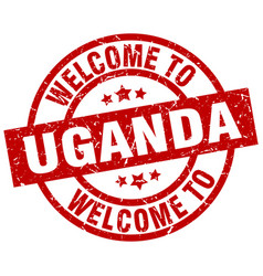 Welcome to uganda red stamp vector