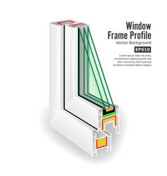 window frame structure three transparent glass vector image