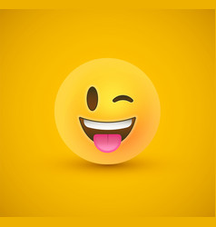 Wink tongue out yellow emoticon face 3d background vector