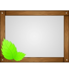 Wooden frame leaves vector image vector image