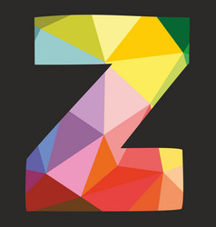 Z low poly alphabet letter isolated on black vector
