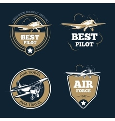 Aircraft and transportation labels Air tourism vector image vector image