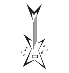 Electric guitar and music notes vector image
