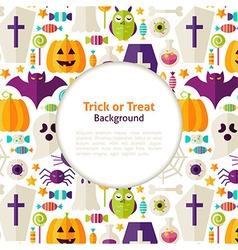 Flat Halloween Trick or Treat Background vector image vector image