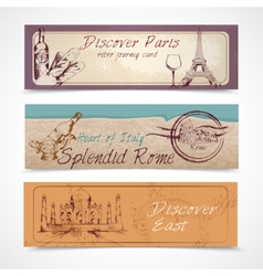 World landmark banners vector