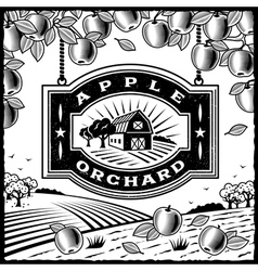 Apple Orchard black and white vector image vector image