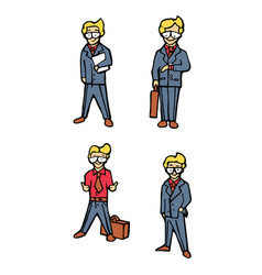 businessman cartoon icons set vector image