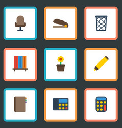 flat icons trash basket calculate phone and vector image vector image