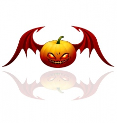 Halloween pumpkin with wings vector image