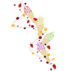 ice cream berries and fruits vector image vector image