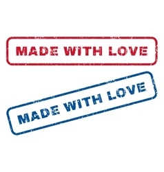 Made with love rubber stamps vector