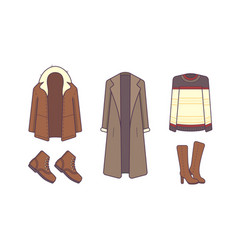 stylish winter clothes and accessories style and vector image vector image