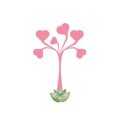 tree shape heart leaves romantic vector image