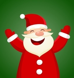 Cartoon Santa Claus on green background vector image
