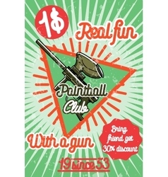 Color vintage paintball poster vector image