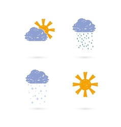 hands draw meteo icons vector image vector image