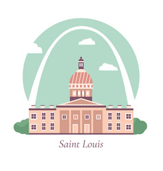 poster with saint louiss famous landmarks vector image