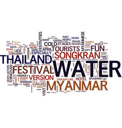 thailand and myanmar water fight text background vector image