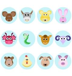 zodiac chinese culture horoscope set design vector image