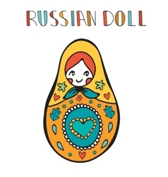Colorful card with cute russian doll vector image vector image